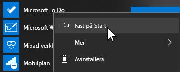 Snabb meny för Microsoft för att öppna och fästa på Starta valt