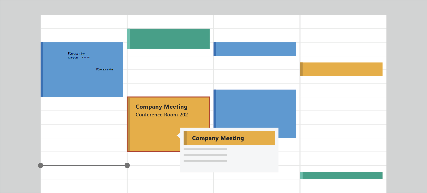 Visar Outlook Kalender