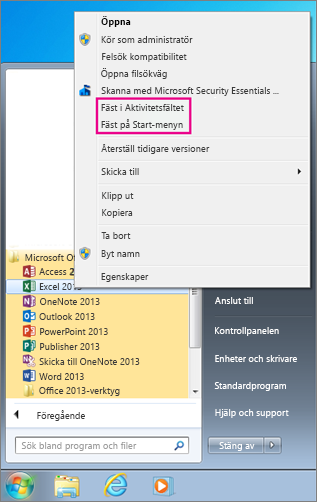 Fäst Office-program på Start-menyn eller i aktivitetsfältet i Windows 7