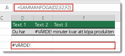 #VÄRDEFEL!-fel i SAMMANFOGA