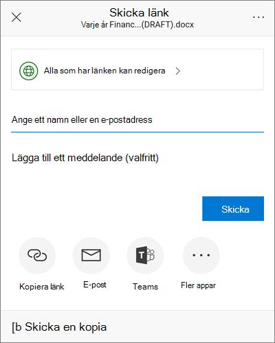 Skärm bild av dialog rutan Dela på Android
