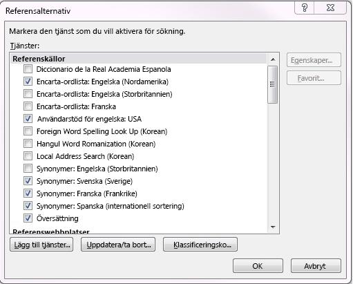 Skärmdump av rutan Referensalternativ