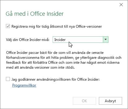 Dialogrutan Gå med i Office Insider med nivåalternativ för Insider