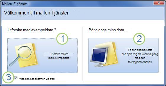 Startformulär i webbdatabasmallen Tjänster