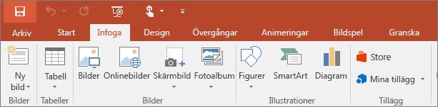 Visar fliken Infoga på menyfliksområdet i PowerPoint