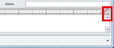 Kommandot Visa linjal i ett nytt meddelandefönster