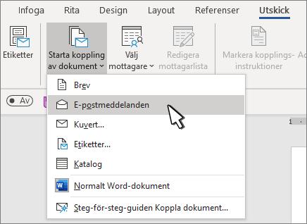 Starta koppling av dokument med E-postmeddelanden markerat