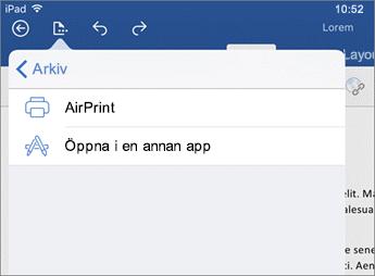 I utskriftsdialogen i Word för iOS kan du skriva ut dokumentet eller öppna det i en annan app.