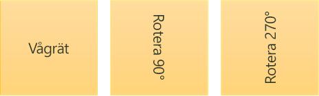 Exempel på textriktning: vågrät och roterad