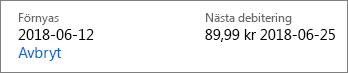 Länk till att avbryta en Office 365 Home-prenumeration.