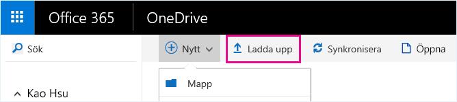 Ladda upp filer till OneDrive för företag.