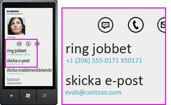 Skärmbild av aktiviteter som samtal till jobbet i Lync för mobil klient