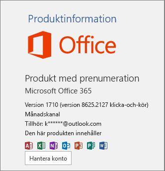 Vanlig Office 365-version