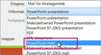 Spara som en PowerPoint-mall