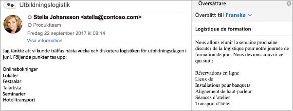 Det här meddelandet har översatts från engelska till franska med hjälp av Outlooks Translator-tillägg