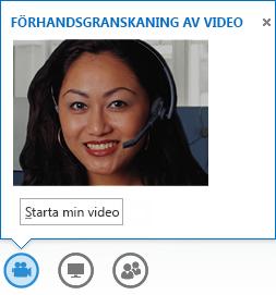 Skärmdump av hur du startar ett videoklipp från ett snabbmeddelande