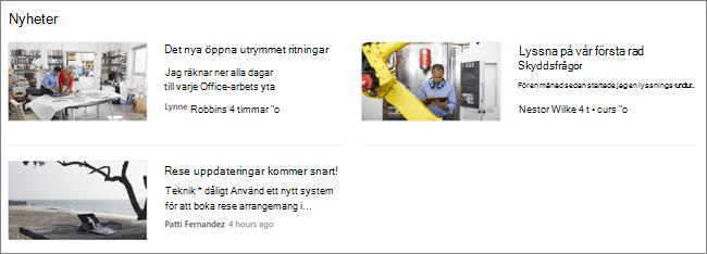 ScreenCap av nyhets webb delen på en SharePoint-webbplats där inlägg har filtrerats