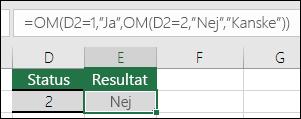 """Använda """""""" för att söka efter en tom cell – formeln i cell E3 är =OM(D3="""""""";""""Tom"""";""""Inte tom"""")"""