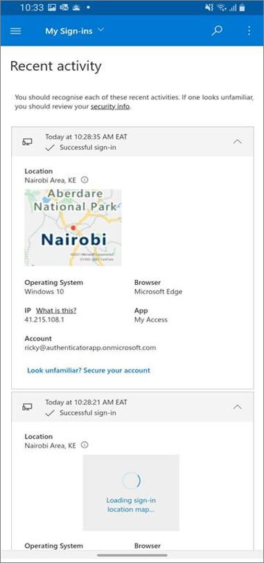 Sidan Senaste aktivitet med inloggningsinformation