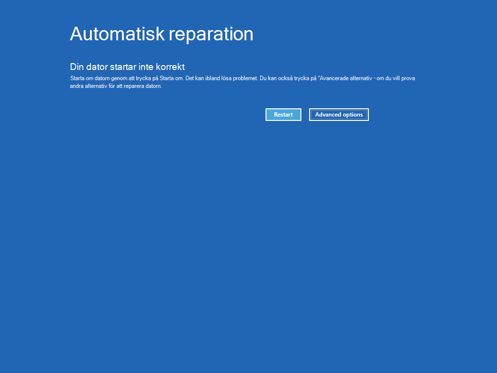 """Visar skärmen Automatisk reparation med knappen """"Avancerade alternativ"""" markerad."""