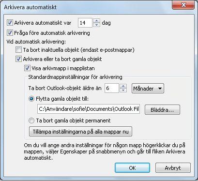 Dialogrutan AutoArchive-inställningar