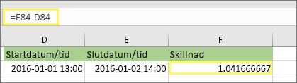 =E84-D84 och resultatet 1,041666667