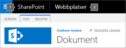 Det övre vänstra hörnet i SharePoint 2016 med startikonen för appar och namnet