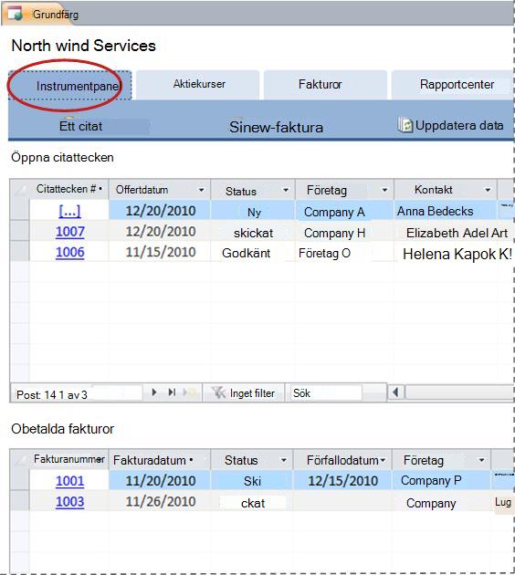 Fliken Instrumentpanel i databasmallen Tjänster
