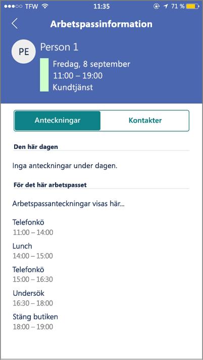 Skärmbild: Visa StaffHub-aktiviteter på en mobil enhet