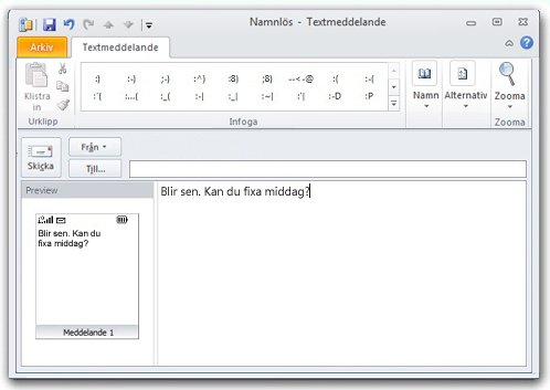 SMS-fönstret