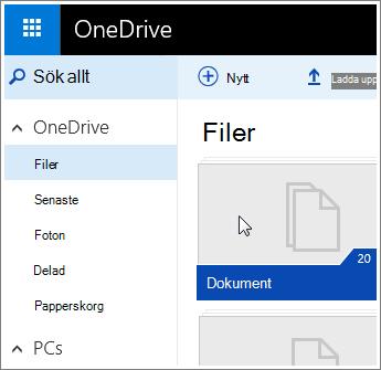Skärmbild av mappen Dokument i OneDrive.