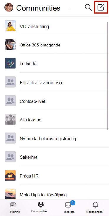 Skärm bild som visar en konversation i en Yammer-community med mobilappen