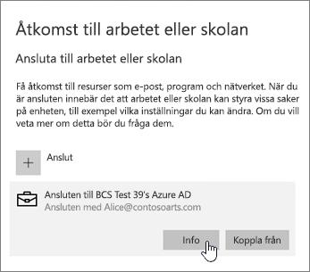 Klicka på knappen Info om du vill visa synkroniseringsstatus