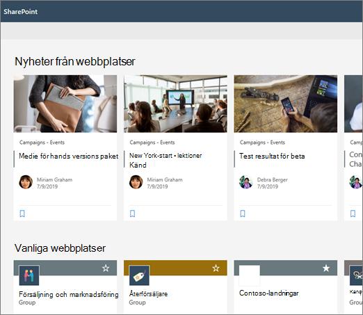 Nyheter på Start sidan i SharePoint
