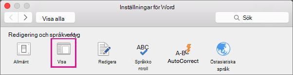 I Inställningar i Word klickar du på Visa för att ändra visningsinställningarna.