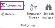 Klicka på Autosumma i gruppen Redigering för att summera tal