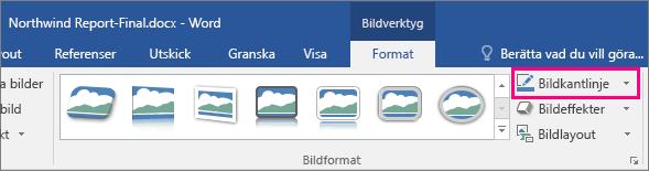 Bildram-alternativet markeras på Bildverktyg på fliken Format.