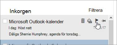 En skärmbild av flaggalternativet i meddelandelistan