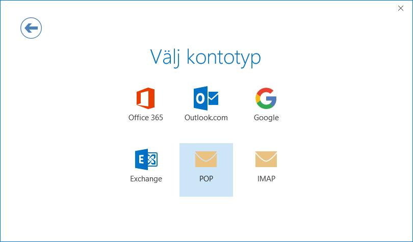 Dialogrutan för kontokonfiguration, sida för att välja kontotyp