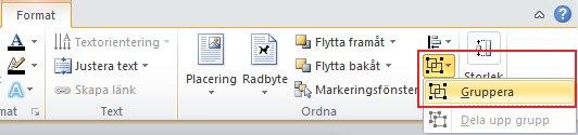 På fliken Format, i gruppen Ordna, klickar du på Gruppera och sedan på Gruppera igen.