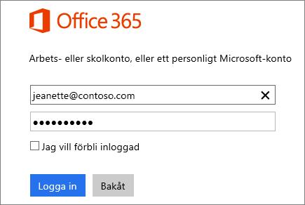 Skärmbild av inloggningsfönstret för Office 365