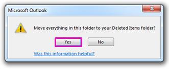 Klicka på Ja för att bekräfta att du vill ta bort allt i mappen permanent.