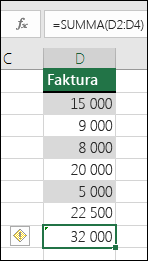 Excel visar ett fel när en formel hoppar över celler i ett område