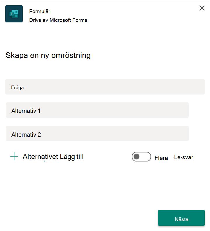 Snabb omröstningsresultat för Forms i Microsoft Teams