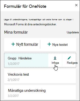 Listan över formulär i formulär för OneNote Web App panel