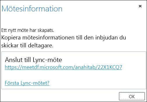 Skärmdump av fönstret Mötesinformation