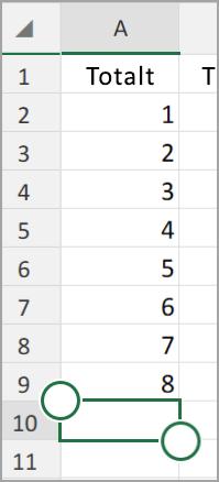 Android-surfplatta, Excel Autosumma