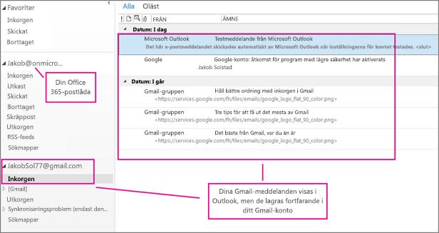 När du har lagt till ditt gmail-konto kommer du att se två konton i Outlook