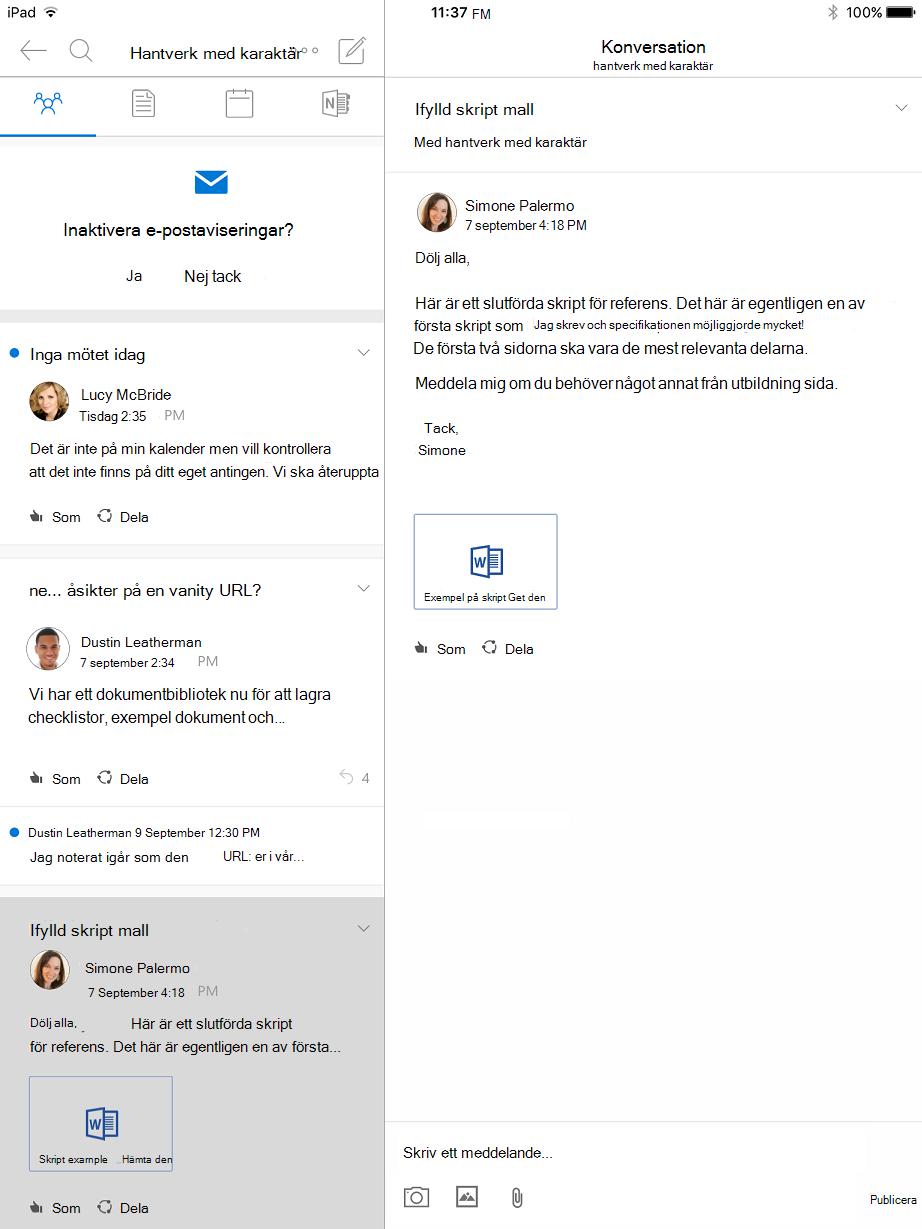 Konversationsvyn i grupper i Outlook för iPad