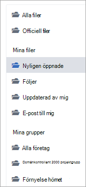Lista som visar fil platser